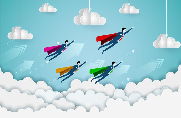 Superhero businessman flying in sky with arrows