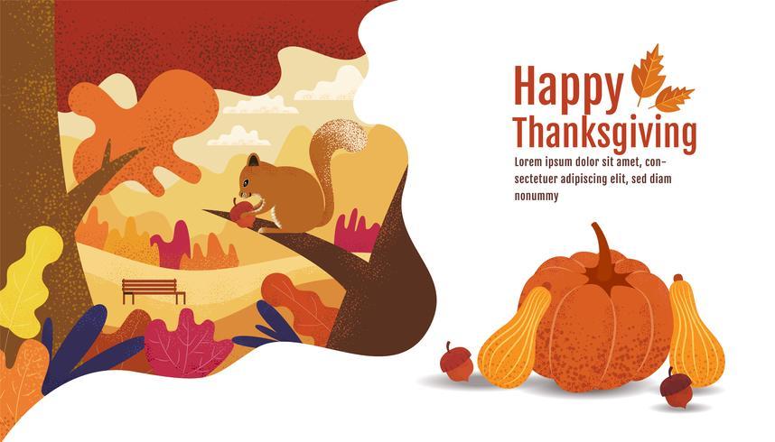 Happy Thanksgiving, Autumn Banner Design with Squirrel vector