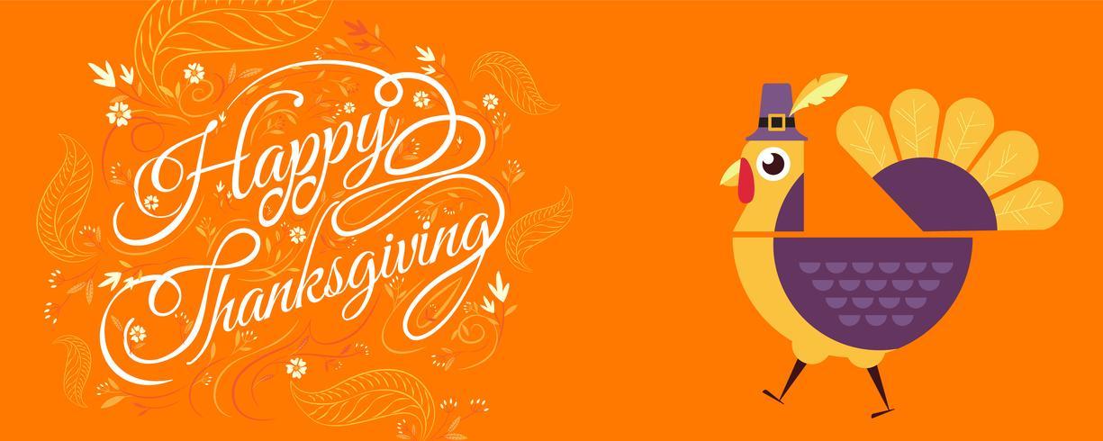 ringraziamento felice tipografia con la Turchia, personaggio dei cartoni animati.