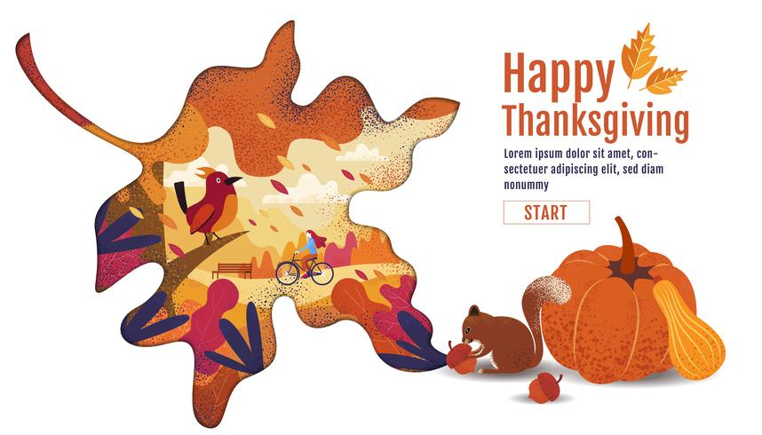 Happy Thanksgiving Autumn Banner Design in Leaf Shape