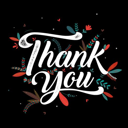 Thankyou typography poster with floral design