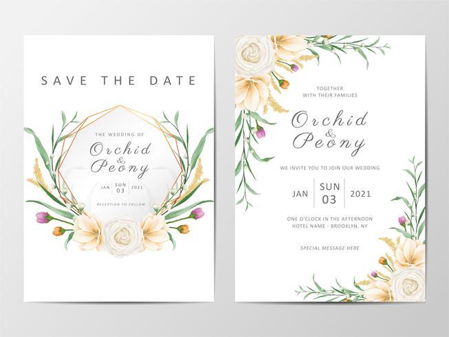 Insieme floreale del modello delle carte dell'invito di nozze floreale vettore