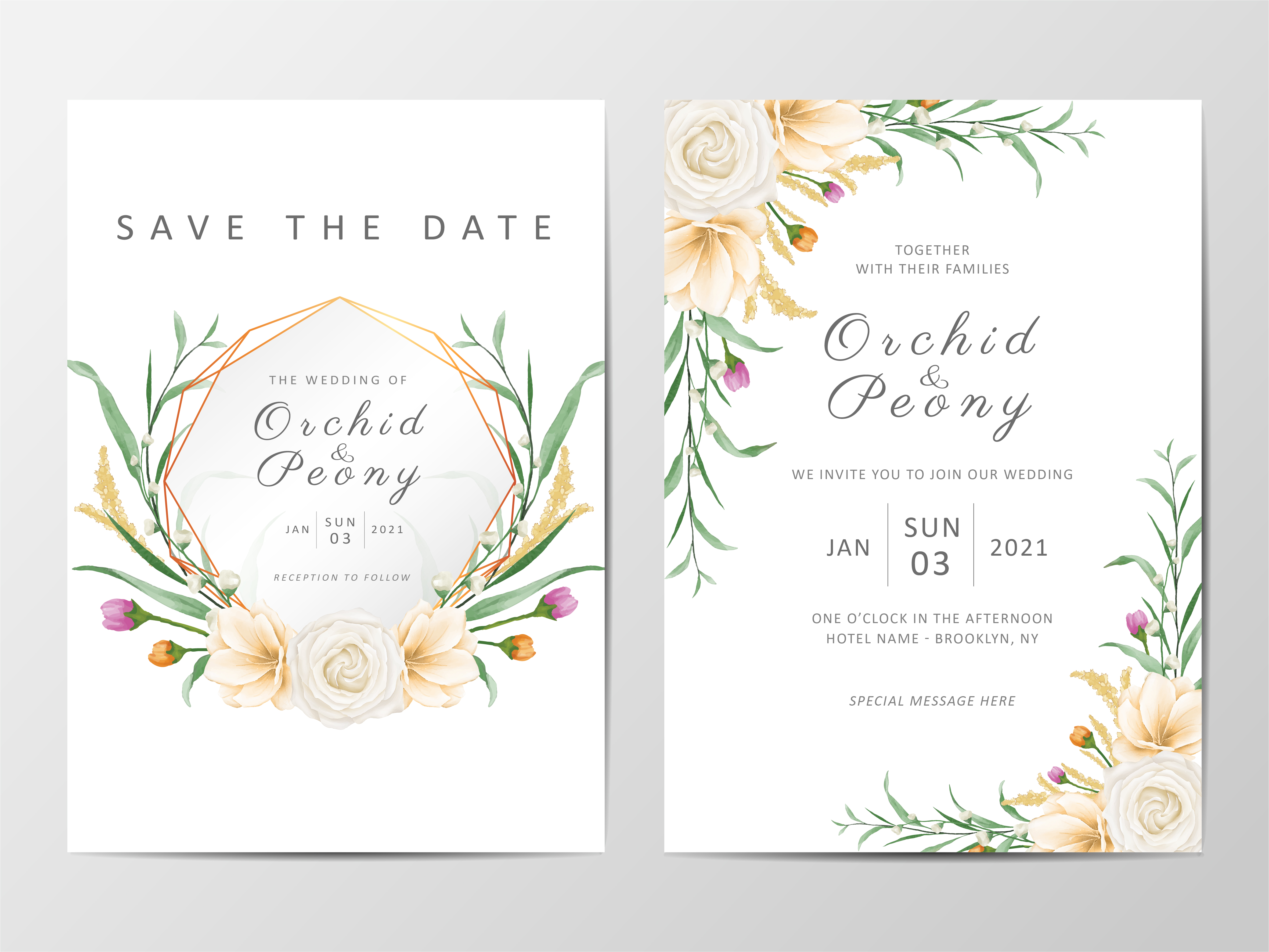 Romantic Floral Wedding Invitation Cards Template Set Download