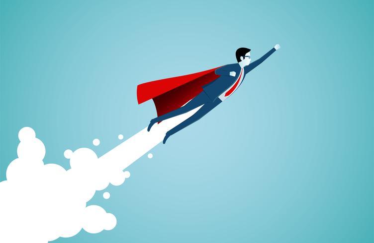 Successful superhero businessmen flying in the sky vector