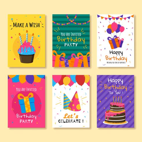 Remarkable Set Of Birthday Invitation Cards Download Free Vectors Clipart Funny Birthday Cards Online Fluifree Goldxyz