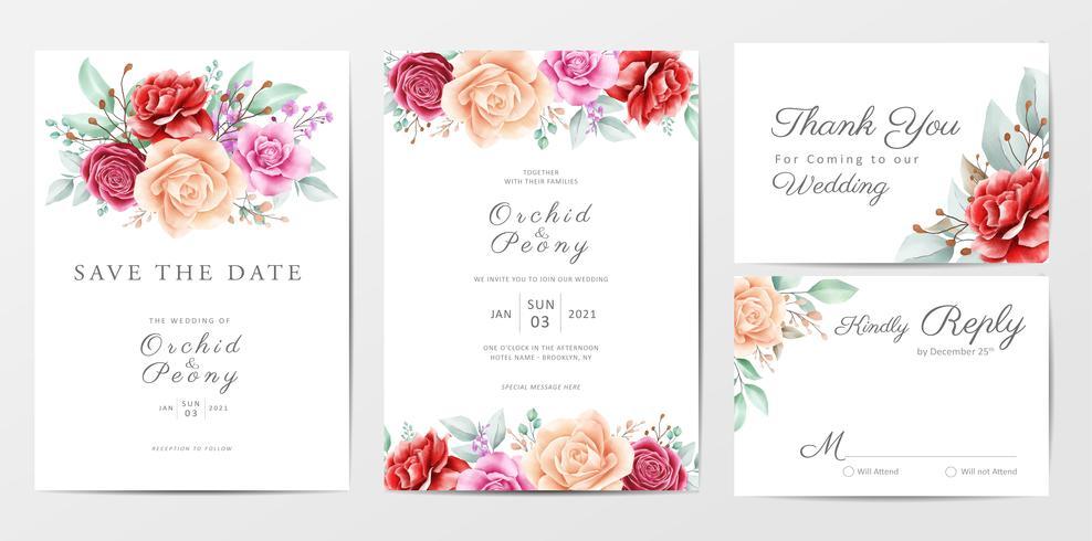 Floral wedding invitation cards template set vector