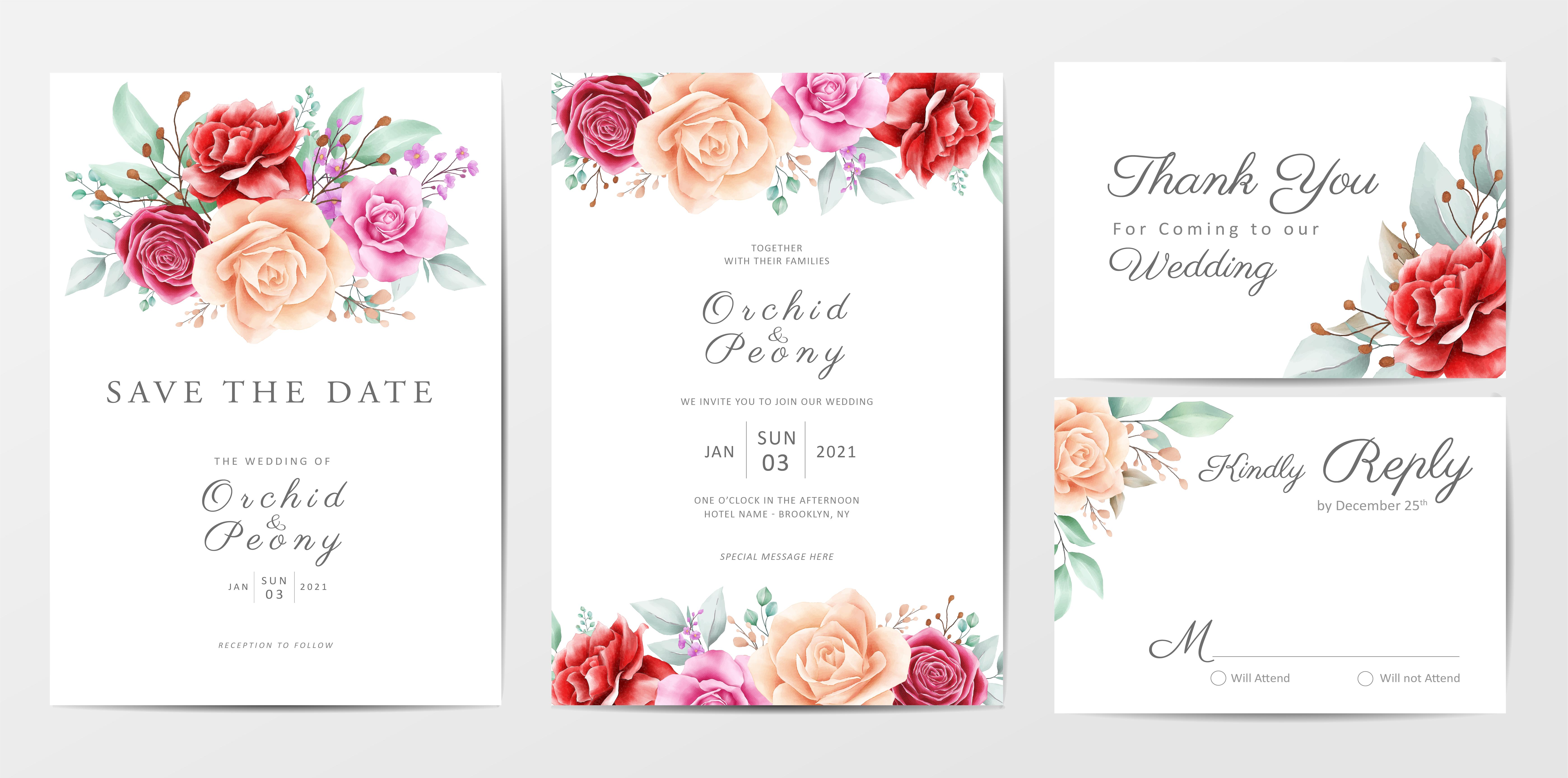 floral wedding invitation cards template set 673328 vector