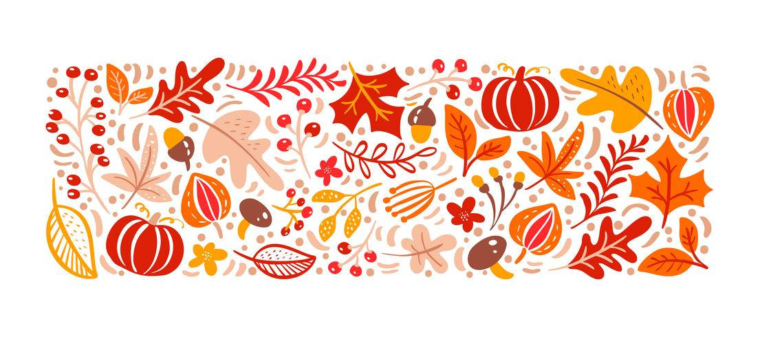 Autumn elements pattern. Mushroom, acorn, maple leaves and pumpkin isolated on white background