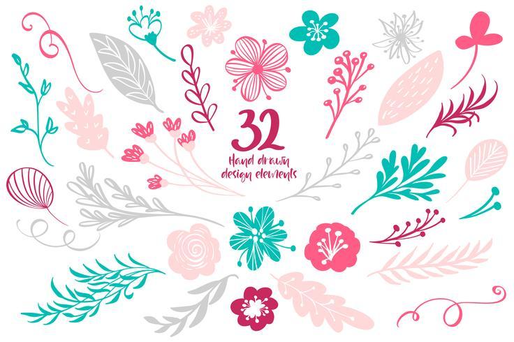 Set Frühling Blumendekor. Vektorelement-Sammlung mit Blättern und Blumen