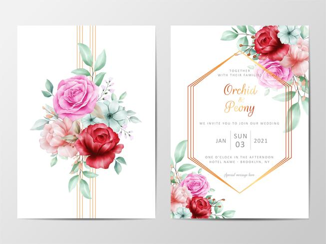 Wedding invitation set with roses vector