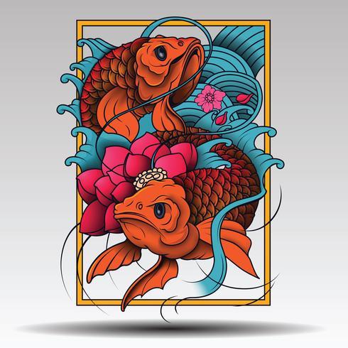 Japon Koi Illustration De Poisson Vecteur Dans Le Style De Tatouage