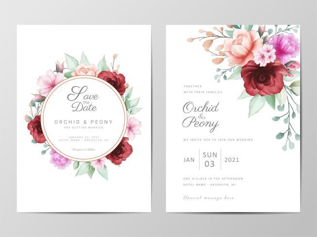 Invitation de mariage sertie de fleurs à l'aquarelle vecteur