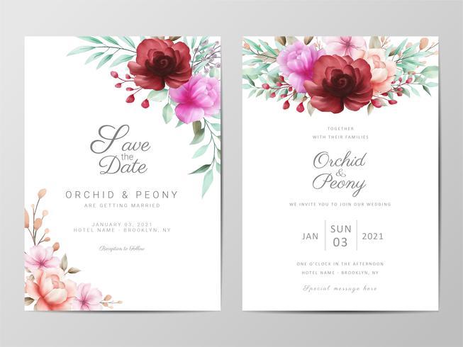 Invitación de boda con flores acuarelas vector