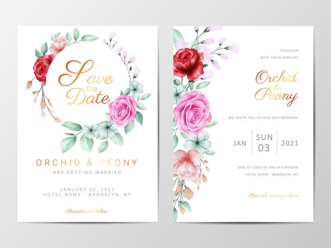 Floral wedding Invitation set with flowers  vector