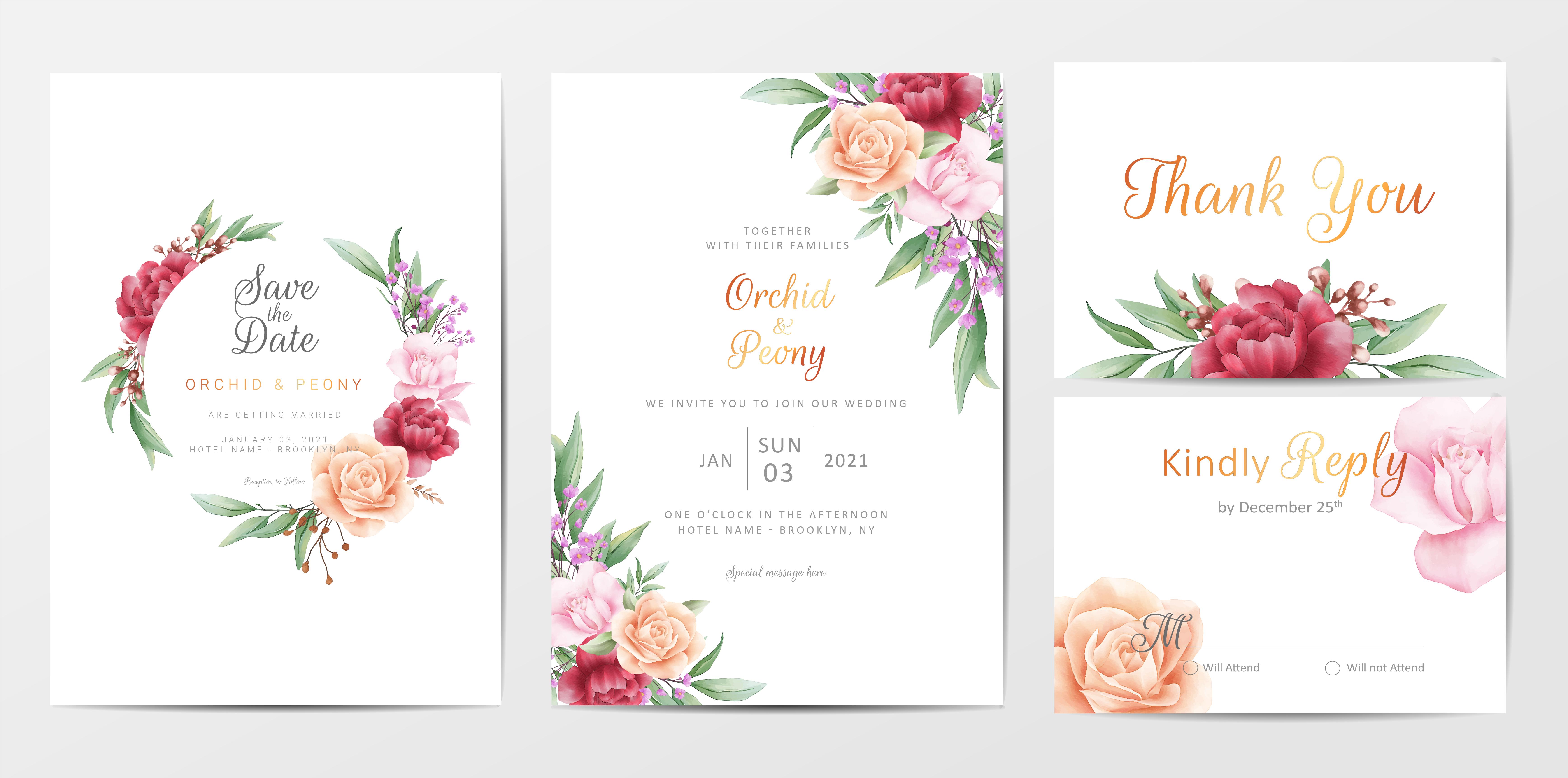 romantic foliage wedding invitation cards template set