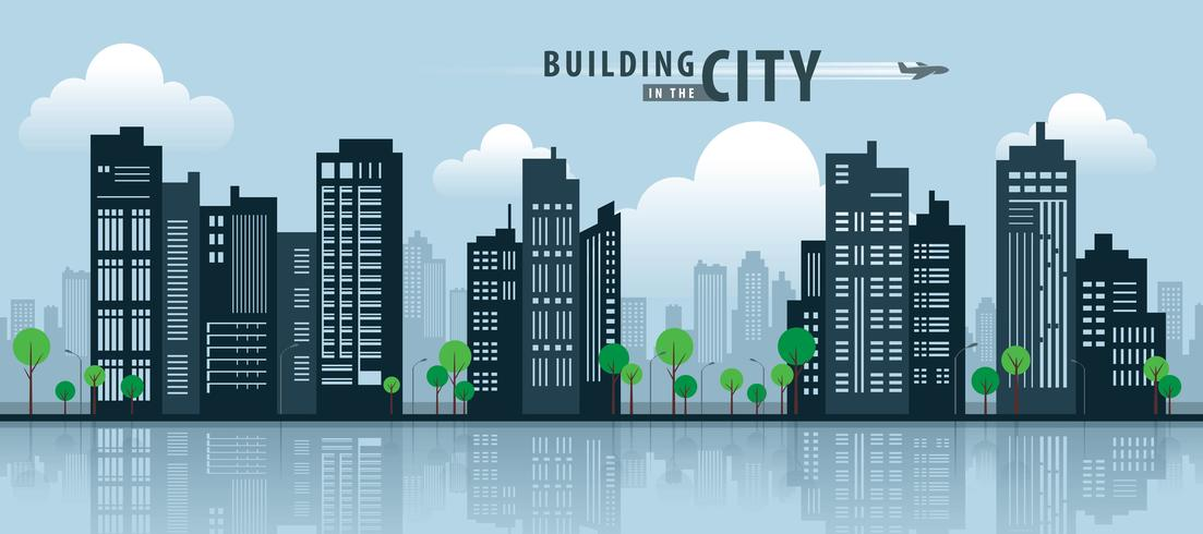 Building Flat Silhouette vector