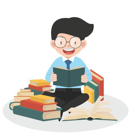 Hombre de negocios leyendo montones de libros vector