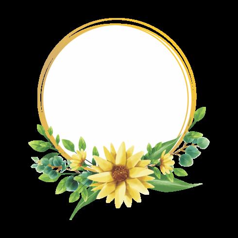 Aquarell-Stil Sonnenblume Rahmendesign