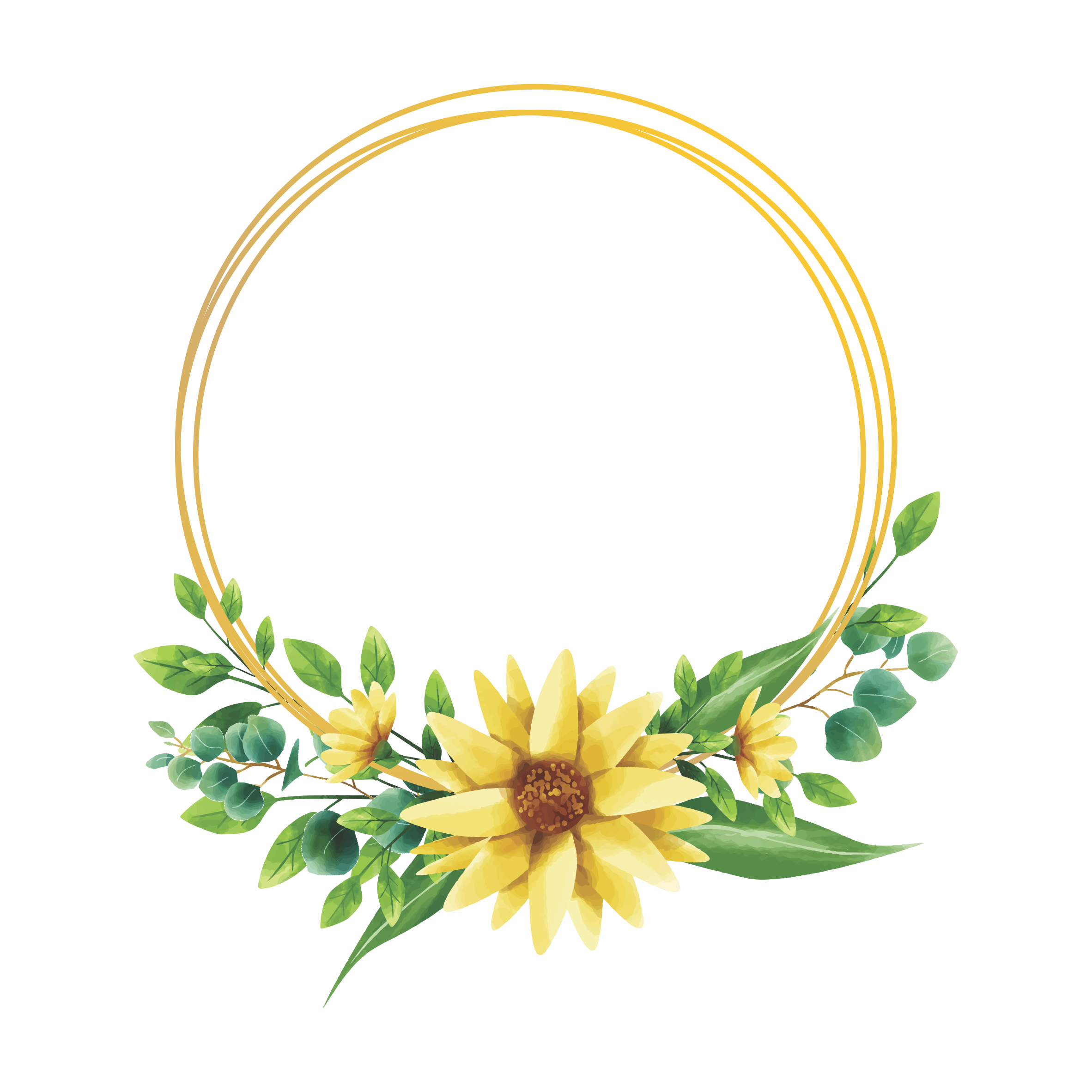 watercolor style sunflower frame design - Download Free ...