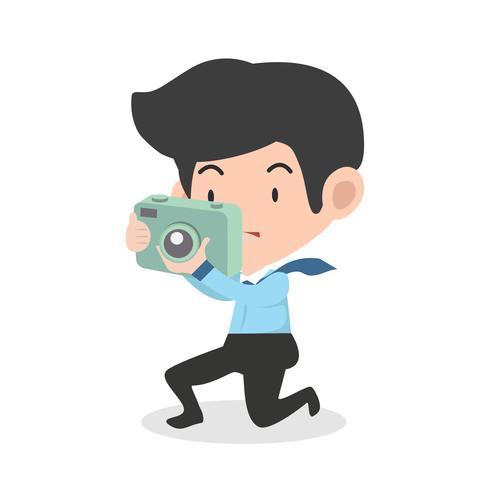 empresário tirar uma foto com a câmera digital