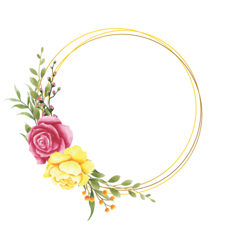 aquarel stijl roze bloem frame
