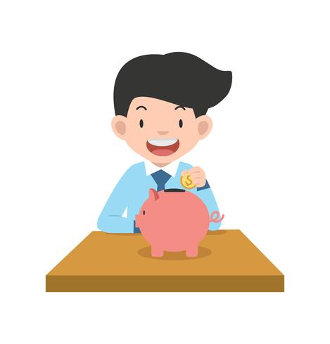 businessman putting coin with Piggy bank