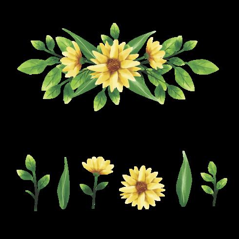gelber Blumengesteckkranz und Blattartaquarell