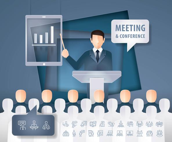 Man talking on business presentation in front of people