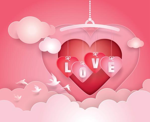 Corazón móvil y letras del alfabeto amor colgando en el cielo con clound vector