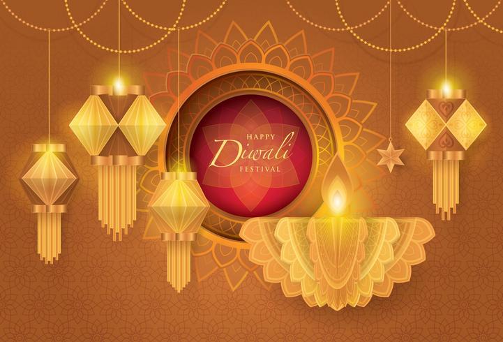 Feliz festival de Diwali com lâmpada de óleo de Diwali vetor