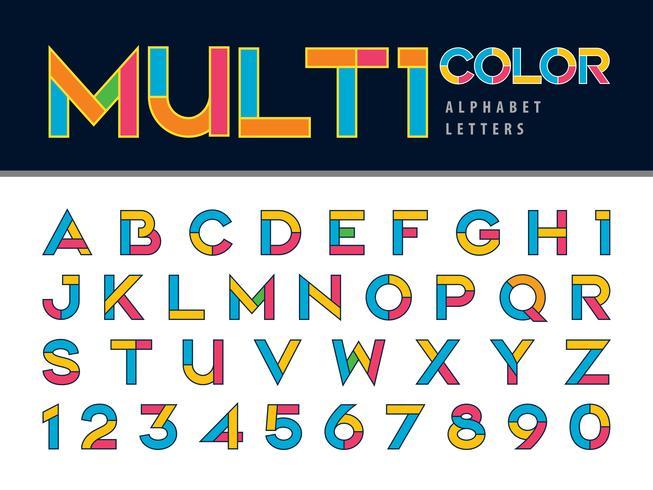 Multicolor transparency Font vector