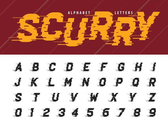 Glitch letras del alfabeto moderno y números vector