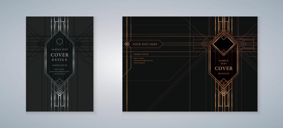 art deco omslagsbok designuppsättning