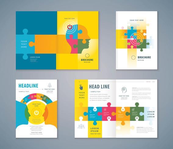 Ensemble de conception de livre de couverture de puzzle coloré vecteur