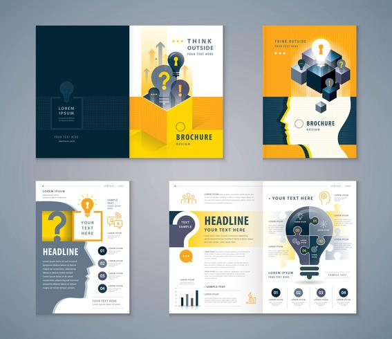 Cover Book Design Set, zwart en geel menselijk hoofd met gloeilamp sjabloon brochures vector