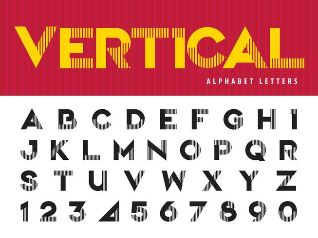 Vertical Lines Alphabet Letters and numbers vector