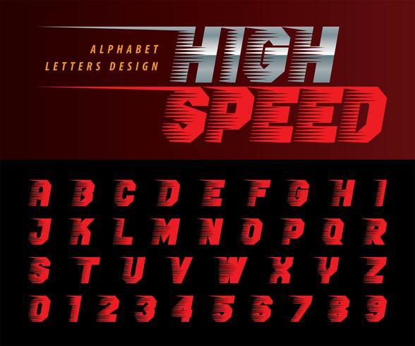 High-Speed-Effekt Alphabet Buchstaben und Zahlen vektor