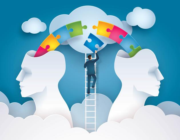 Businessman Climbing Ladder to pushing colorful jigsaw puzzle pieces together vector