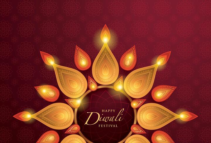 Joyeux festival de Diwali avec une lampe à huile Diwali vecteur