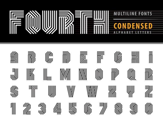Multi Line Stripes Alphabet Letras y números vector