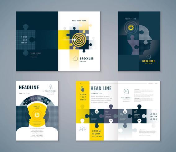 Puzzle design ensemble de livre de couverture vecteur