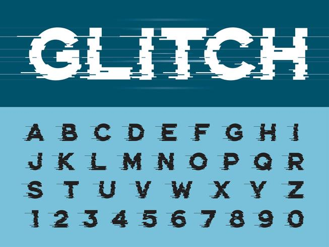 Glitch Modern Alphabet Letters and numbers vector