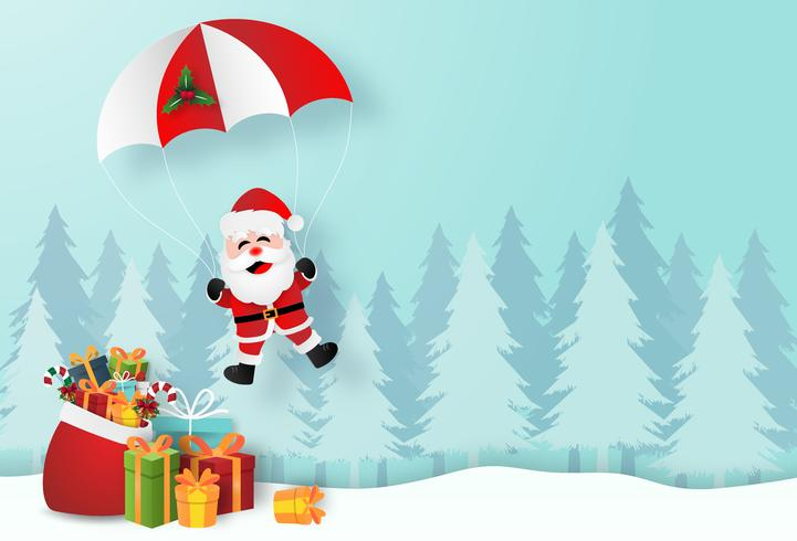 Origami paper art of Santa Claus with Christmas gifts in pine forest