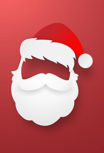 Origami paper art of Santa Claus with red background vector