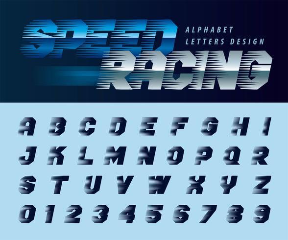Letras y números del alfabeto Speed Effect Effect vector