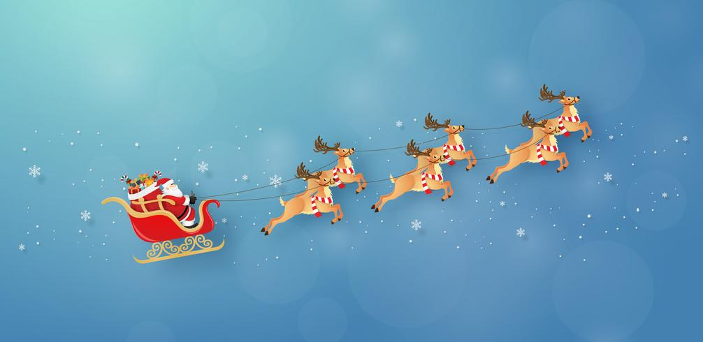 Santa Claus and reindeer flying through the sky vector