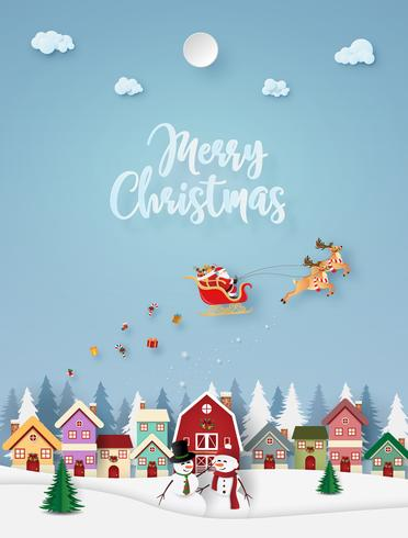 Merry Christmas Paper Style Card vector