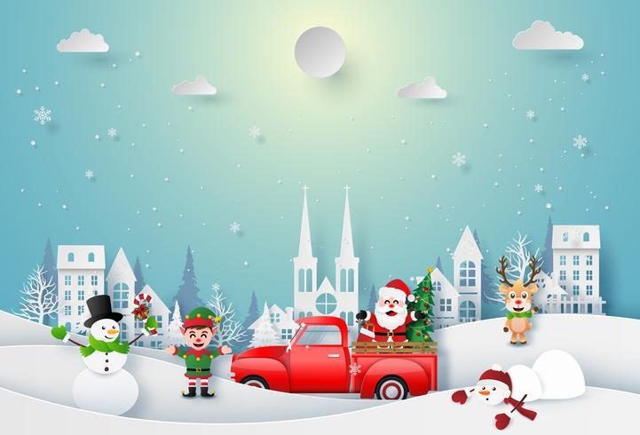 Origamipapperskonst av jultomten och julkaraktär som firar i staden