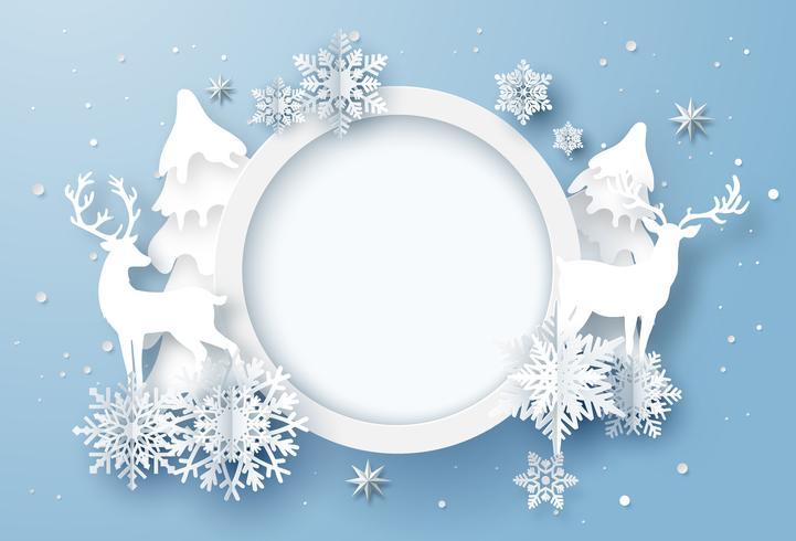 Arte en papel de tarjeta de vacaciones de invierno con copos de nieve y renos vector