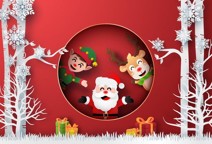 Arte de papel de origami de Santa Claus, Reno y Elfo en el bosque con regalo de Navidad